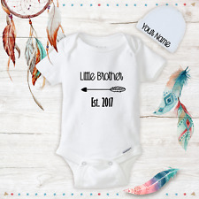 Personalized Little Brother Baby Boy Onesies with Hat Set New Baby Shower Gifts