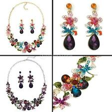 Crystal Flower Butterfly Rhinestone Drop Necklace Earrings Wedding Jewelry Set
