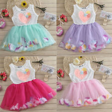 Kids Girls Summer Sweet Heart Petals Sleeveless Lace Tutu Princess Dress Popular