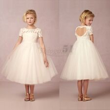 Flower Girls Formal Lace Tulle Dress Princess Pageant Wedding Bridesmaid Gown