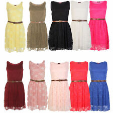 Womens Sleeveless Lace Skater Dress Ladies Belted Frankie Tailored Fancy Top