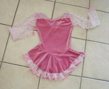NEW Girls BLUSH PINK VELVET Polka Dot TULLE Competition Figure ICE SKATING Dress