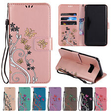 Luxury Butterfly Leather Wallet Flip Stand Case Cover Pouch For Samsung Galaxy B