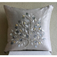 Mother Of Pearls Tree 40x40 cm Art Silk Silver Cushion Covers - Silver Leaf