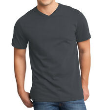 3 PACK ~ Fruit of the Loom Mens Charcoal Tag Free 100% Cotton V-Neck T-Shirts