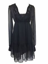 Black Gothic Peasant Chic Boho Retro Gypsy Empire Sheer Summer Lace Dress Top