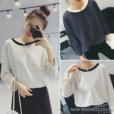 Fashion Womens Stripe Long Sleeve T Shirt Round Neck Loose Blouse Casual Tops
