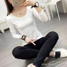 New Women's Slim T Shirt Pure Color Blouse Long Sleeve Tops Simple Casual Shirt