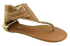 LADIES FAUX SUEDE BACK ZIP UP STRAPPY TOE POST SUMMER SANDALS CAMEL SIZE 3-8