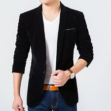 Mens Lapel Collar One Button Velvet Slim Fit Blazer Coat Casual Short Outwear
