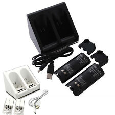 New 2x 2800mAh Battery + Charger Charging Dock Station For Wii Remote Controller