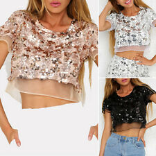 Hot Women's Casual Sexy Organza Sequined Bare Midriff Crop Tops Blouse Crystal