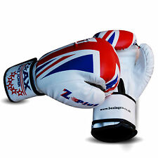 Leather Gel Boxing Gloves Sparring Punch Bag Training Pads UK FLAG Junior/Adults