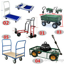 Heavy Duty Garden Hand Trolley Cart Sack Truck Transport Wheelbarrow Trailer UK