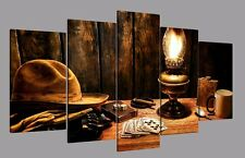 Cowboy Hat Wood Room Canvas Picture Painting Abstract Poster Wall Art Home Decor