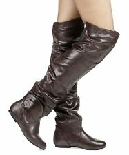 RF Room Of Fashion Trend-Hi Over-the-Knee Slouchy Low Heel Boots BROWNPU