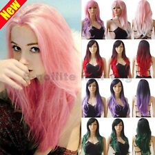Sexy Ombre Hair Wigs Cosplay Anime Party Long Curly Wavy Wig with Bangs Women 52