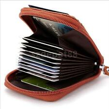 Cowhide Leather Wallet Credit Card Holder Organizer Purse for Men Women