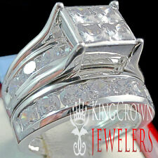 Ladies 10K White Gold Over Sterling Silver 2 Piece Bridal Wedding Ring Band Set