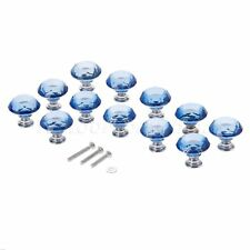 30mm Crystal Glass Knobs Handle Drawer Cabinet Kitchen Bule Pulls+Screws+Gaskets