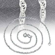 Fashion Pure Solid 925 Sterling Silver Rope Chain Necklace with Lobster Clasp TC