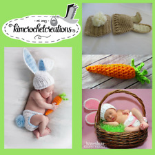 Crochet / Knit Bunny Hat, Diaper Cover w/Tail, Carrot, Photo Props, Shower Gift