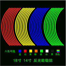 16 Strips Reflective Motorcycle Car Rim Stripe Wheel Decal Tape Stickers Decors
