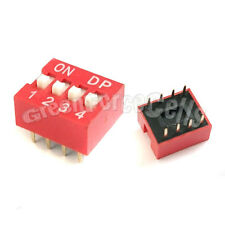 1 x 4 Position Ways Slide Style DIP Switch 2.54mm Pitch Gold Tone 8 Pin PCB Code