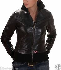 Leather Bomber Jacket New Designer Outfit Soft Lambskin Made For Women W- 667