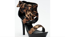 NEW LADIES SIZE 4-7 BLACK/LEOPARD PRINT STRAPPY WITH SIDE BOW HI HEELED SANDALS