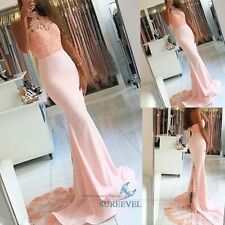 Pink Mermaid Formal Evening Dress Lace Bridesmaid Dress Trailing Party Prom Gown