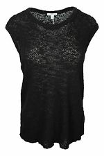 James Perse Black Slub Sleeveless Sweater Tank Knit Top Vest Women $165 NWT