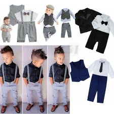 Baby Boys Kids Gentleman Tuxedo Formal Suit Shirt Waistcoat Tie Pants Outfits