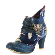 Womens Irregular Choice Miaow Blue Multi Heeled Ankle Boots Shu Size