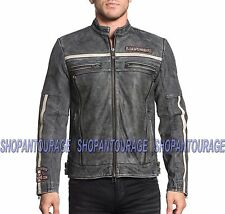 AFFLICTION Black Moon Riders 110OW283 New Genuine Leather Jacket+Free ($39) Tee