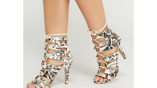 LADIES SIZE 4,5,6,7 WHITE ANIMAL PRINT TIE UP STRAPPY HIGH HEELED PARTY SANDALS