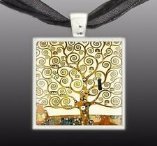"""Tree of Life Klimt Art Painting Square 1"""" Pendant Necklace in Silver Tone"""