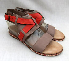 NEW CLARKS SOFTWEAR ORSINO CAFE WOMENS TAUPE / ORANGE LEATHER SANDALS  5 / 38
