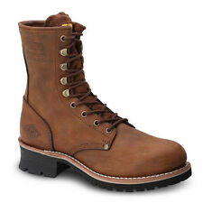 """Mens Brown 9"""" Logger Oiled Leather Steel Toe Work Boots BAT-901 Size 5-13 (D, M)"""