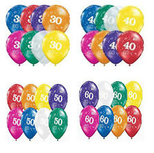30th 40th 50th & 60th Printed Latex Balloons Birthday Anniversary Party Supplies