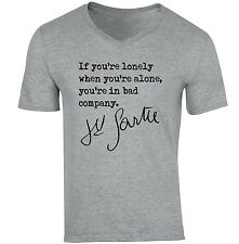 JEAN PAUL SARTRE QUOTE 1 - NEW COTTON GREY V-NECK TSHIRT