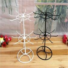 2-Tier Round Rotating Necklace Earrings Jewelry Retail Display Stand Rack