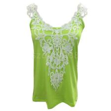 Hot Women Lace Vest Crop Tank Sleeveless Tops Vest Blouse T-Shirt Green S-5XL