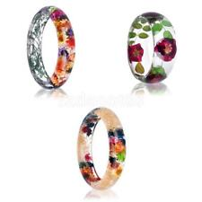 Handmade Dried Flowers Bangle Clear Transparent Resin Womens Charm Cuff Bracelet