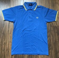 Men's Designer Fred Perry Blue Polo Shirt Size Small