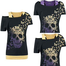 Women Gothic Skull Print One Shoulder Jersey Tunic Lady Shirt Punk Skeleton Top