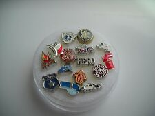 Floating Charms Police and Firefighter, fire hat, truck,emt, ambulance,paramedic