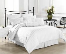 1000TC EGYPTIAN COTTON WHITE STRIPE BEDDING ITEMS EXTRA DEEP POCKET FITTED
