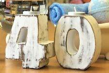 Large Wooden Shabby Chic Birthday Numbers Tea Light Candle Holder, Handmade