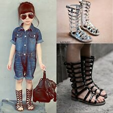 KIDSGIRLS GLADIATOR SANDALS STRAPPY FLAT KNEE HIGH ZIP UP BOOTS sandal SHOES